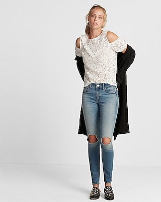 Express Womens Lace Cold Shoulder Puff Sleeve Tee