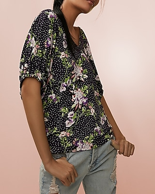 Express Womens Floral V-Neck Oversized Ruched Cuff Top