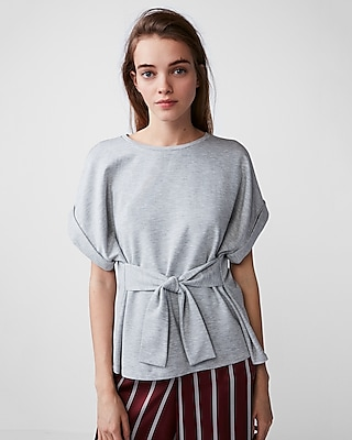 Express Womens Heathered Tie Waist Rolled Sleeve Tee