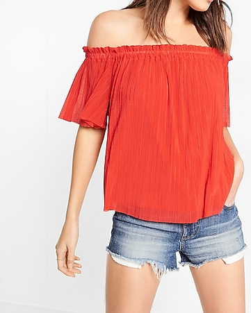 ribbed smocked scoop neck blouse
