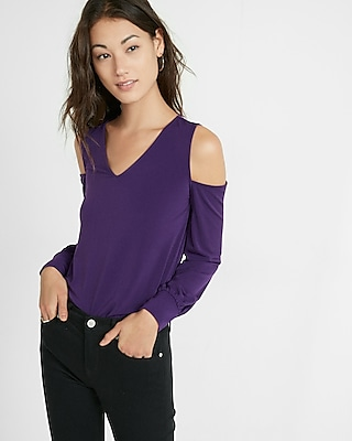Express Womens V-Neck Cold Shoulder Long Sleeve Tee Purple XX Small