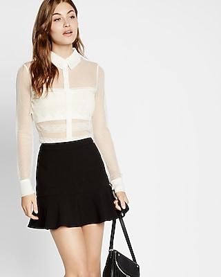 Express Womens Sheer Mesh And Lace Long Sleeve Shirt