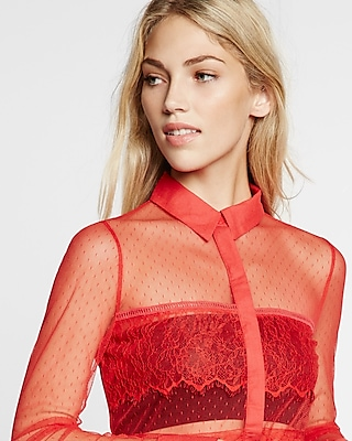 Express Womens Sheer Mesh And Lace Long Sleeve Shirt Red X Small
