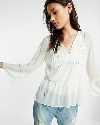 Express Womens Crochet Bell Sleeve Blouse