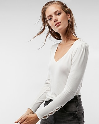 Express Womens Ribbed Puff Shoulder Lace-Up Top