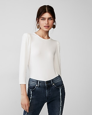 Express Womens Solid Puff Sleeve Top