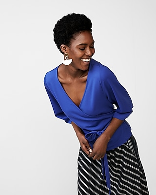 Express Womens Tie Waist Kimono Sleeve Blouse Blue XX Small