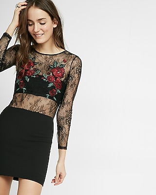 Express Womens Floral Embroidered Lace Bodysuit