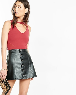 Express Womens Cut-Out Mesh Inset Tank Red X Small