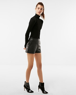 Express Womens Mid Rise (Minus The) Leather Shorts