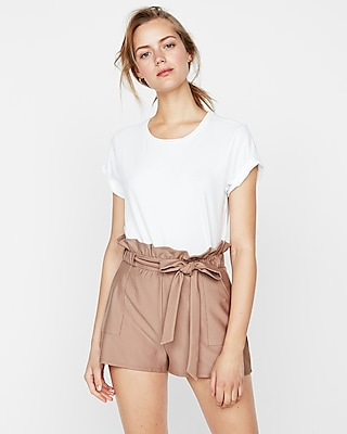 Express Womens High Waisted Tie Front Utility Shorts