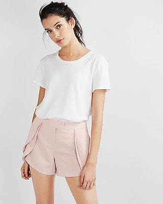 Mid Rise Fly Front Ruffle Shorts