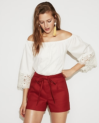 Express High Waisted Paperbag Linen-Blend Shorts