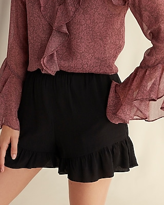 Express Womens High Waisted Ruffle Hem Crepe Shorts