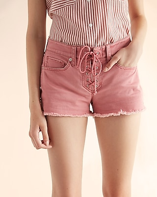 Mid Rise Relaxed Lace-Up Shorts