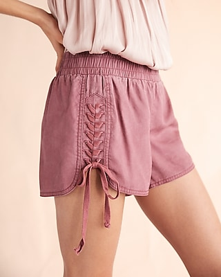 Express Womens Braided Lace-Up Shorts