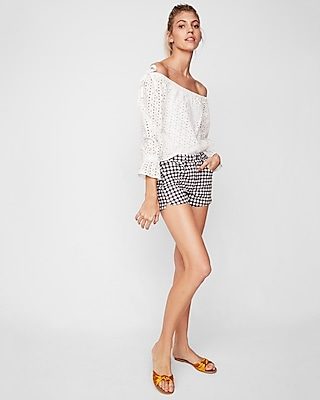Express Womens High Waisted Gingham Shorts