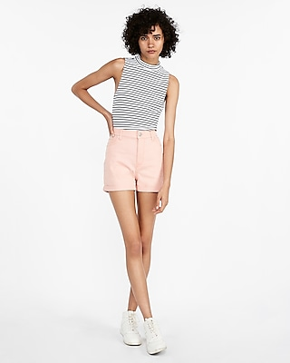 Express Womens High Waisted Vintage Double Roll Twill Midi Shorts