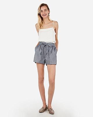 Express Super High Waisted Paperbag Shorts