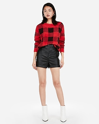 Express Womens Super High Waisted Cuffed Faux Leather Shorts