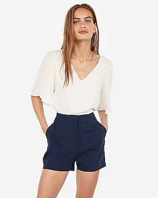 Express Super High Waisted Pleated Cotton Shorts