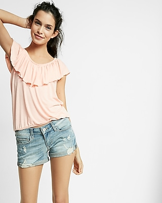 Low Rise Relaxed Destroyed Denim Shorts