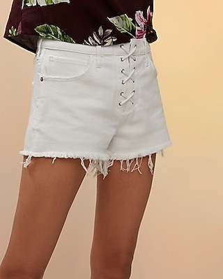Mid Rise Lace-Up Cutoff Denim Shorts