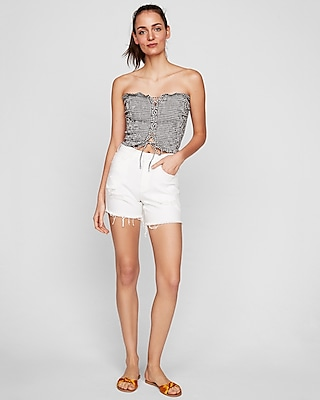 Express Womens High Waisted White Raw Hem Bermuda Shorts