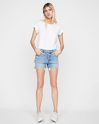 High Waisted Vintage Lace-Up Cutoff Stretch Denim Shorts