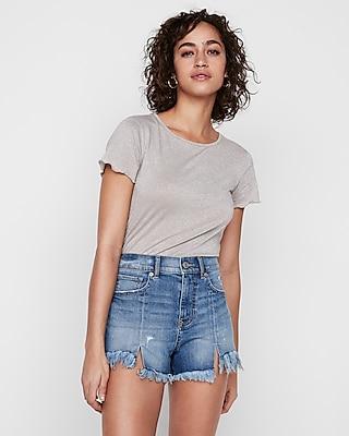 Express Womens High Waisted Distressed Cutoff Original Denim Shorts