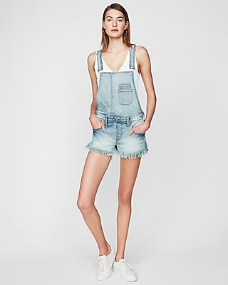 Express Womens Original Distressed Denim Overall Shorts