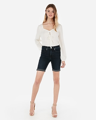 Express Womens High Waisted Denim Perfect Double Roll Bermuda Shorts