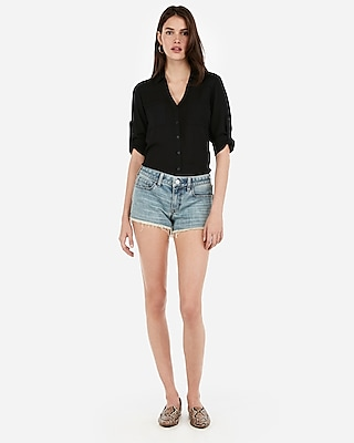 Express Womens Express Womens Eco Friendly Sustainable Denim Low Rise Frayed Hem Denim Shorts