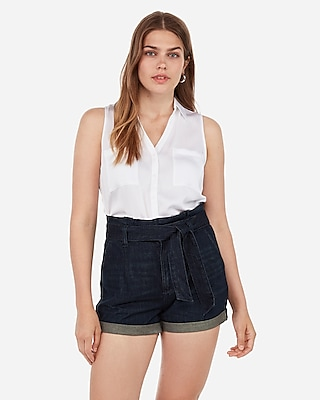 Express Womens Super High Waisted Paperbag Dark Wash Shorts
