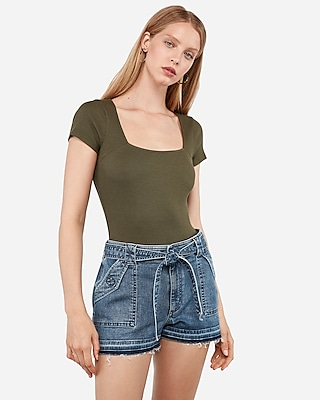 Express Super High Waisted Self Tie Utility Denim Shorts