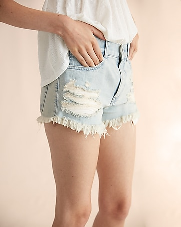high waisted destroyed denim cutoff shorts