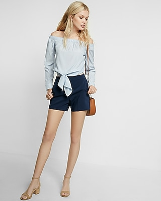 Mid Rise Cotton Sateen Shorts