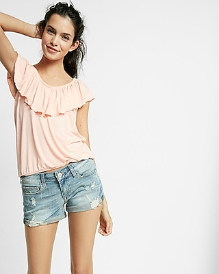 Express Womens Low Rise Relaxed Destroyed Stretch+ Denim Shorts