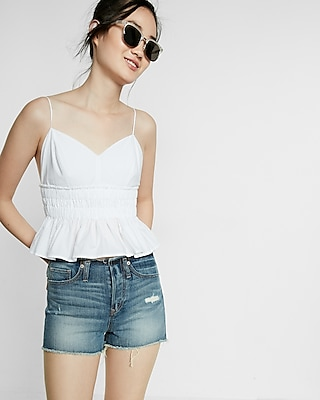 High Waisted Removed Waistband Raw Cut Shorts
