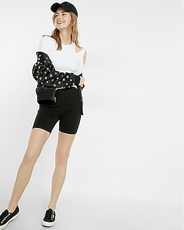 high waisted stretch shorts