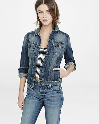 Express Womens Classic Denim Trucker Jacket