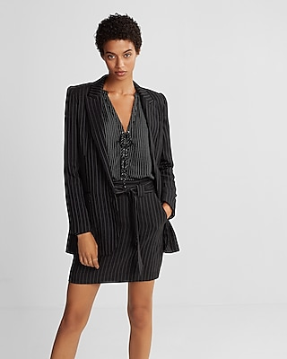 Express Womens  Ticking Stripe Boyfriend Blazer