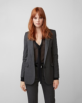 Express Womens Flannel Stripe Boyfriend Blazer