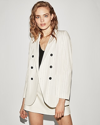 Express Womens Pinstripe Faux Double Breasted Blazer