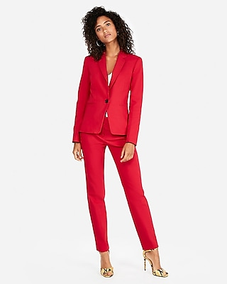 Express Womens Petite Notch Collar One Button Blazer