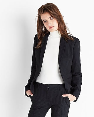 Express Womens Petite Pinstripe One Button Blazer
