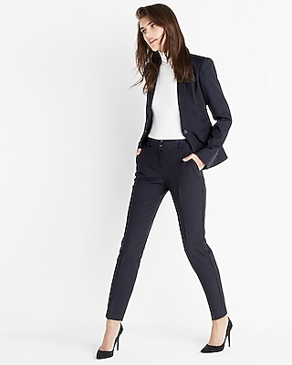 Express Womens Pinstripe One Button Blazer