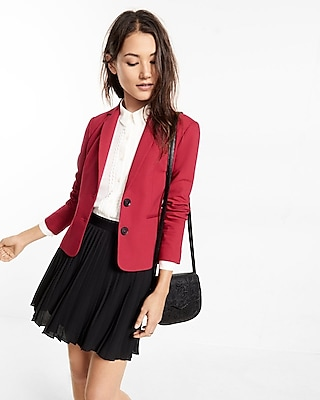 Express Womens 22 Inch Black Ultimate Double Weave Jacket Red 6