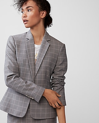 Express Womens Windowpane Notch Collar Blazer