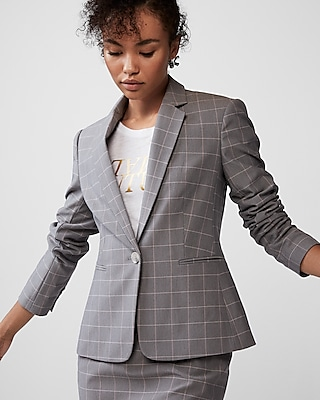 Express Womens Petite Windowpane Notch Collar Blazer